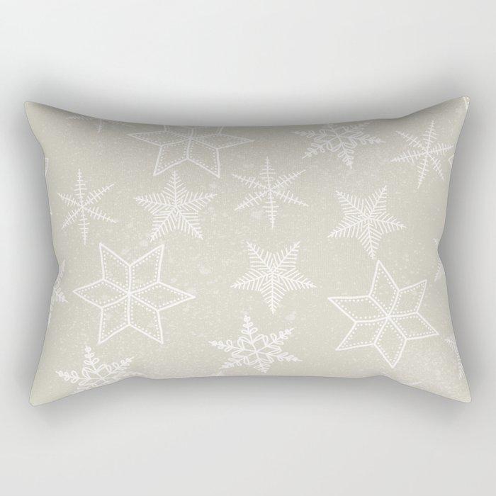 Snowflakes on beige background Rectangular Pillow
