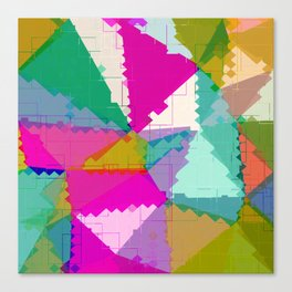 geometric square pixel and triangle pattern abstract in pink green blue Canvas Print
