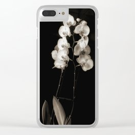 Orchids in monochrome Clear iPhone Case
