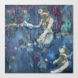 Picking up the underwater lights Canvas Print