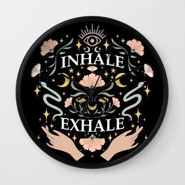 Breathe, inhale exhale yogi zen master poster black Wall Clock