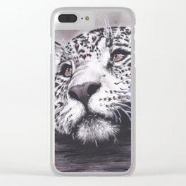 Leopard with Hearts Clear iPhone Case