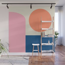 Simple Shapes in Pink, Coral, and Blue Wall Mural