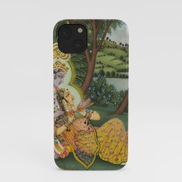 Indian Masterpiece: Radha Krishna in the garden by the stream with lotus flowers landscape painting iPhone Case