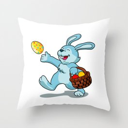 rabbit with Easter basket Throw Pillow