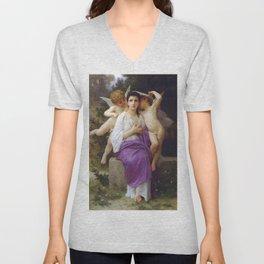 "William-Adolphe Bouguereau ""L'Eveil du Coeur (The Heart's Awakening)"" Unisex V-Neck"