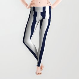 Simply Drawn Vertical Stripes Nautical Navy Blue on White Leggings