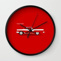 ford Wall Clocks featuring Ford Ranchero by Mark Rogan