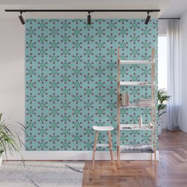 Retro floral compass- tulips Wall Mural