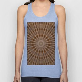 Kaleidoscope Brown Circle and Stripes Pattern Unisex Tank Top