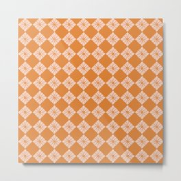 Moroccan Diamond Tiles, Blush and Burnt Orange Palette Metal Print