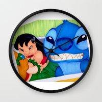 lilo and stitch Wall Clocks featuring Lilo & Stitch Selfie by Olivia Iman