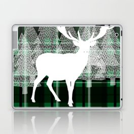 Green Plaid with Deer: Holiday Print Laptop & iPad Skin