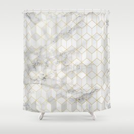 White Marble with Gold Cube Pattern Shower Curtain