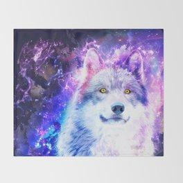 Cosmic Wolf Throw Blanket
