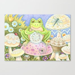 DOILIES MAKE A HOPPY HOME - Brack Whimsical Frog Canvas Print