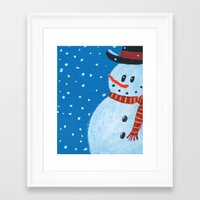 snowman Framed Art Prints featuring Snowman by gretzky
