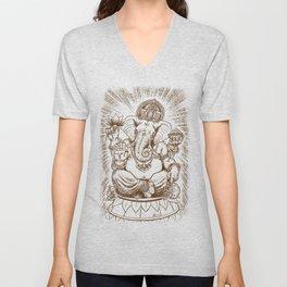 Ganesh: Brown Unisex V-Neck