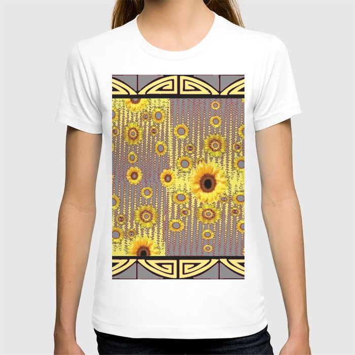 MODERN  ART DECO GOLDEN SUNFLOWERS  GREY-BLACK T-shirt