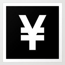 Yen Sign (White & Black) Art Print