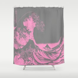 The Great Wave Pink & Gray Shower Curtain
