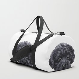 Black toy poodle Dog illustration original painting print Duffle Bag
