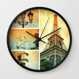 Drama of Paris Collage Wall Clock