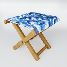 Turbulent Waves Original Abstract Oil Painting on Canvas, Blue, Silver 8x10in Folding Stool