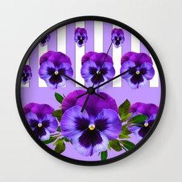 MODERN LILAC & PURPLE PANSY FLOWERS ART Wall Clock