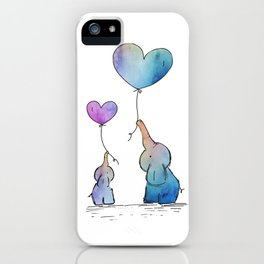 Colorful Watercolor Elephants Love iPhone Case