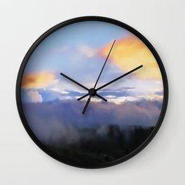 Sunset and cloud drape Wall Clock