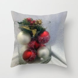 Red and White Ornaments Throw Pillow
