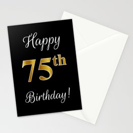"""Elegant """"Happy 75th Birthday!"""" With Faux/Imitation Gold-Inspired Color Pattern Number (on Black) Stationery Cards"""