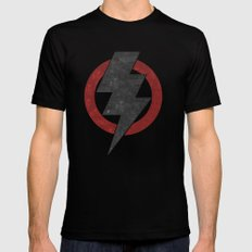 lightning strike zone LARGE Black Mens Fitted Tee