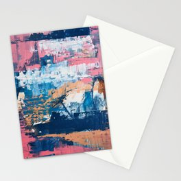 Rock and Roll Soul: a vibrant abstract contemporary painting by Alyssa Hamilton Art in pinks and blues Stationery Cards