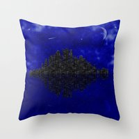 skyline Throw Pillows featuring Skyline by Mi Nu Ra