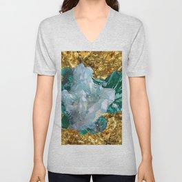 WHITE QUARTZ &  AQUAMARINE CRYSTALS  ON GOLD Unisex V-Neck