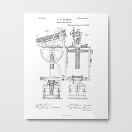 Solar Theodolite Vintage Patent Hand Drawing Metal Print
