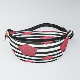Roses in stripes Fanny Pack