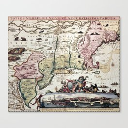 New England old map with New Amsterdam Canvas Print