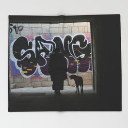 Woman and dog, graffiti Throw Blanket