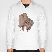 bison Hoodies featuring Bison by Ursula Rodgers