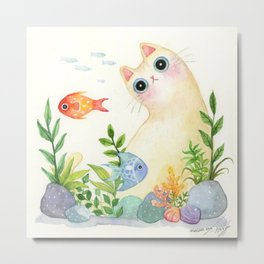 The Aquarium Cat Metal Print