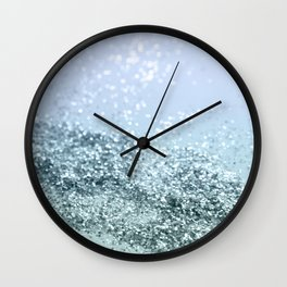 Light Seafoam Light Blue Glitter #1 #shiny #decor #art #society6 Wall Clock