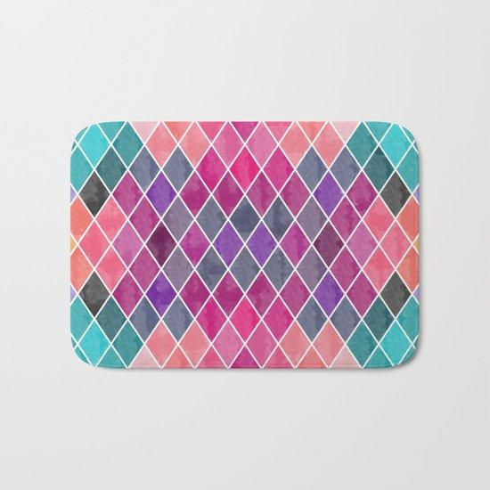 Watercolor Geometric Pattern Bath Mat