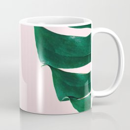 Green monstera leaves on pink ink Coffee Mug