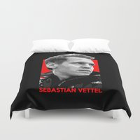 formula 1 Duvet Covers featuring Formula One - Sebastian Vettel by Vehicle
