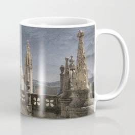 Monochrome treatment of the turrets at the Torre de Belem in Lisbon Coffee Mug