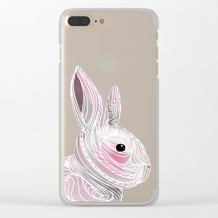 White Rabbit Clear iPhone Case