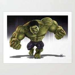 Caricature of Hulk Art Print